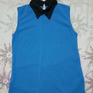 Blue Collard Top