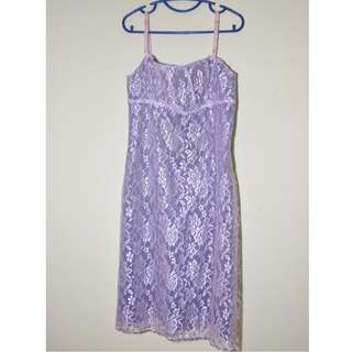 English Lilac Lavender Lace Fitted Dress