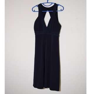 Black A line Diamond Cut Bareback Dress