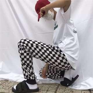 黑白棋盤格紋長褲