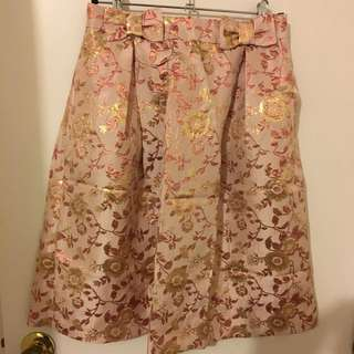 Pink Floral Jacquard Skirt - So 12