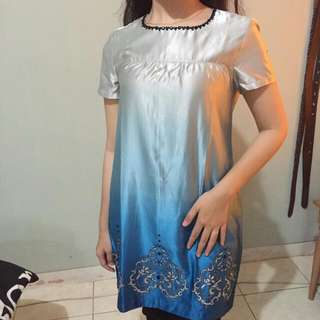 blue gradation long bluse/dress