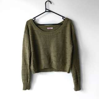 Olive Green Cropped Knit Suprè
