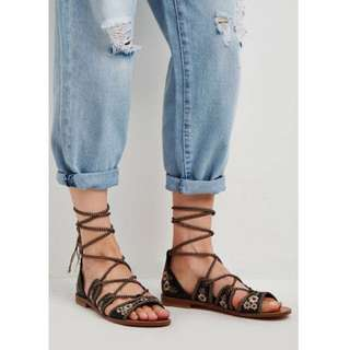 Forever 21 Embroidered Lace Up Sandals