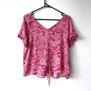 Red Floral Shirt Glassons, Size 12