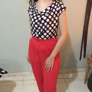 red polka jumpsuit [REPRICE]