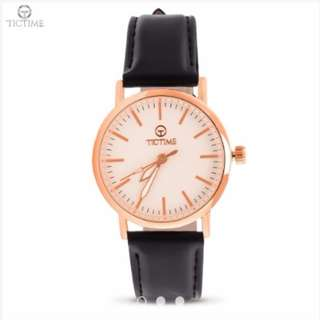 Tictime 3386L Women's Analog Watch (Black/RoseGold/White)