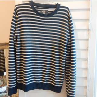 Navy Striped Knitted Jumper H&M Size mens small