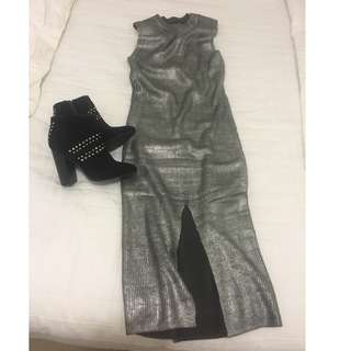 minkpink metallic midi knit dress $25 s-m