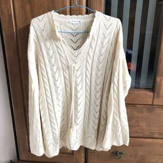 BN Beige Knitted Bell-Sleeved Top