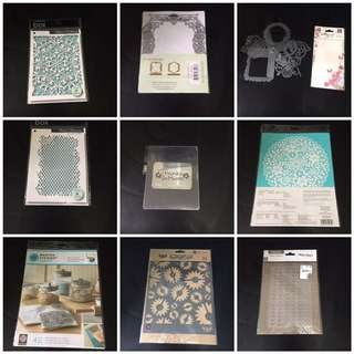 Cutting and Embossing Dies, Rubber Stamps and Stensils