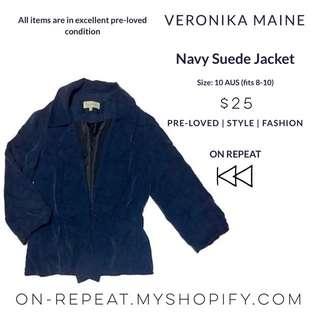 Veronika Maine Navy Suede Jacket