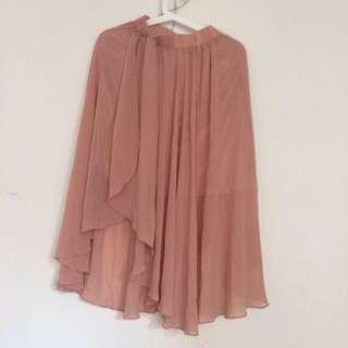 藕粉色層次雪紡紗裙