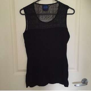 Kenzo Black Mesh Singlet With Slit On Side