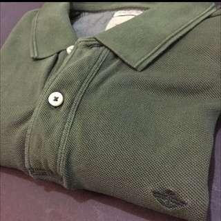 Dockers Men Pique Polo Dark Heather Army Green Polo Tee Shirt