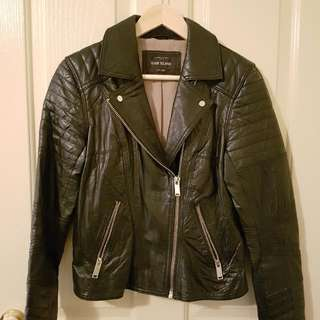 🍑River Island Biker Leather Jacket in black Size 12