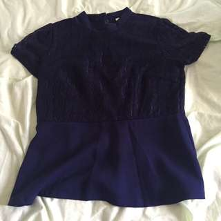 Navy Blue Laced Top