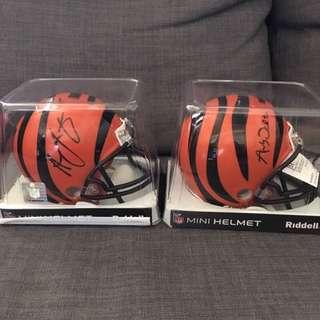 Andy Dalton & AJ Green Autographed Bengals Mini Helmets