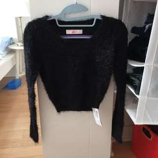 American Apparel Black Fuzzy Cropped Sweater