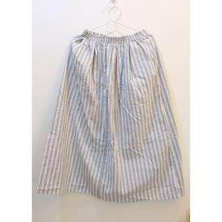 白灰直條棉麻長裙