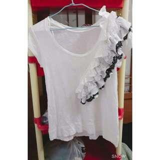 微前短後長特殊設計白色上衣#好物任你換