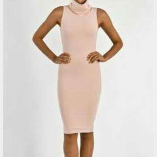 Size 6 KOOKAI Nude Bodycon Turtleneck Dress
