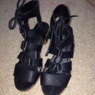Black Tie Up Shoes