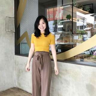 Mustard Knit Cut Top