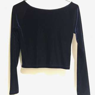 Velvet blue Crop Top
