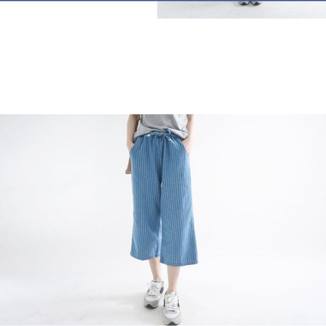 藍色條紋寬褲(含運