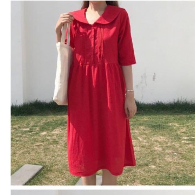 <古著>海軍領壓摺紅系洋裝
