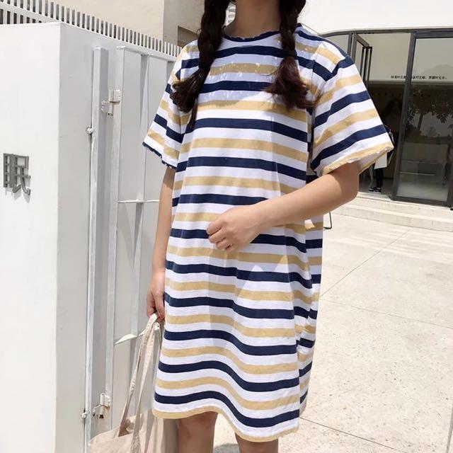 黃藍破洞條紋休閒ㄧ件式洋裝