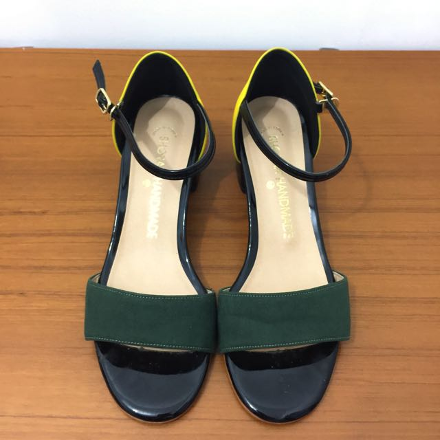 降‼️正韓 氣質拼色露趾跟鞋(37號)