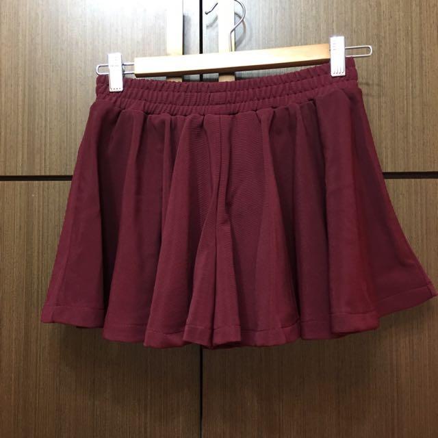 全新👉🏻 酒紅素面褲裙