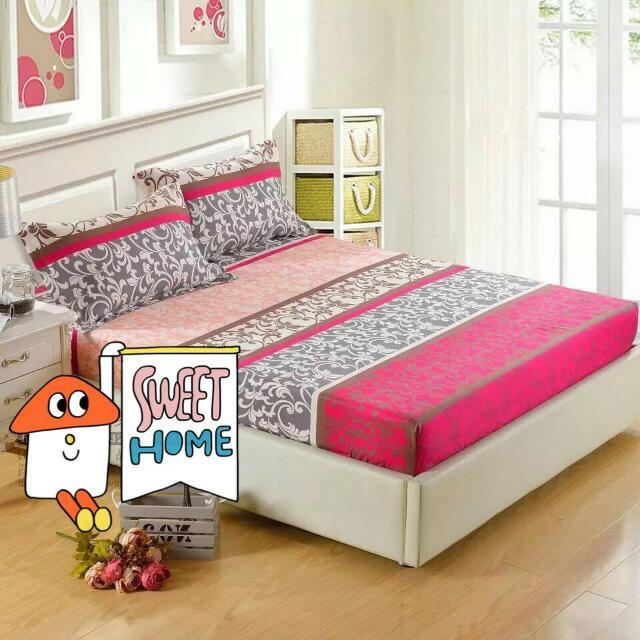 桃紅灰 花紋 床罩床單枕頭套三件組
