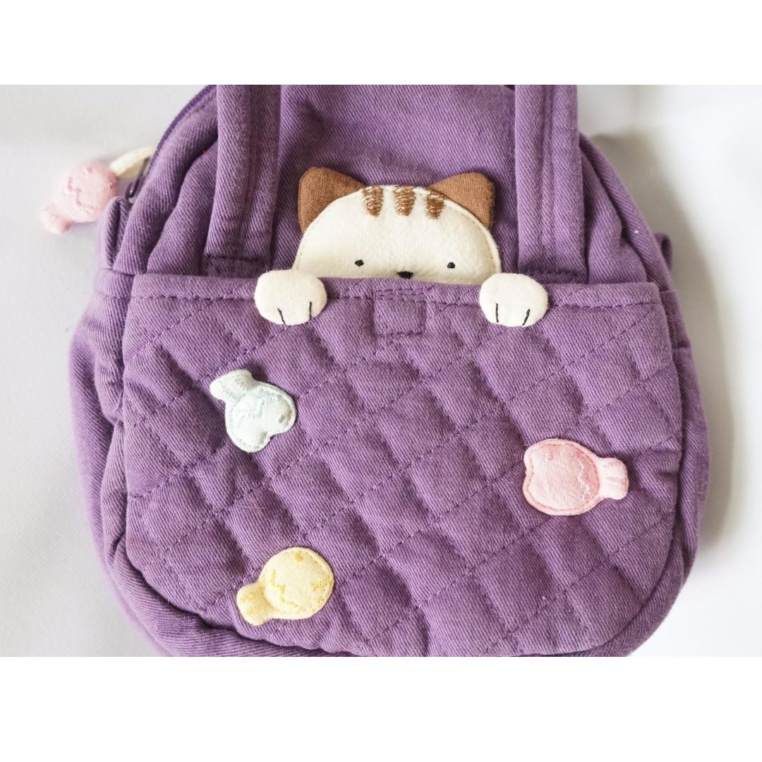 二手 女童 貓咪 手提包 小包包 紫色 拼布 菱格