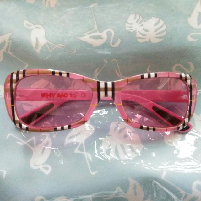 女童 WHY AND 1/2 眼鏡 墨鏡 粉紅 格子