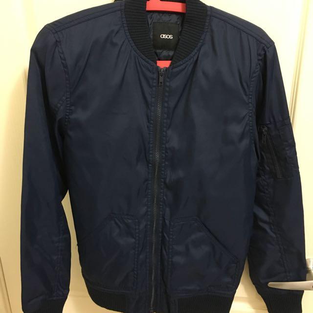 Asos 夾克 薄型ma1 深藍