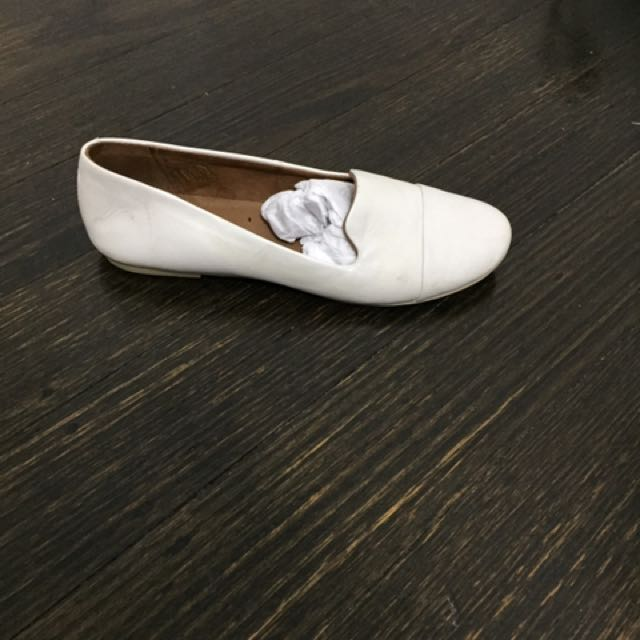 Authentic Leather White Flats