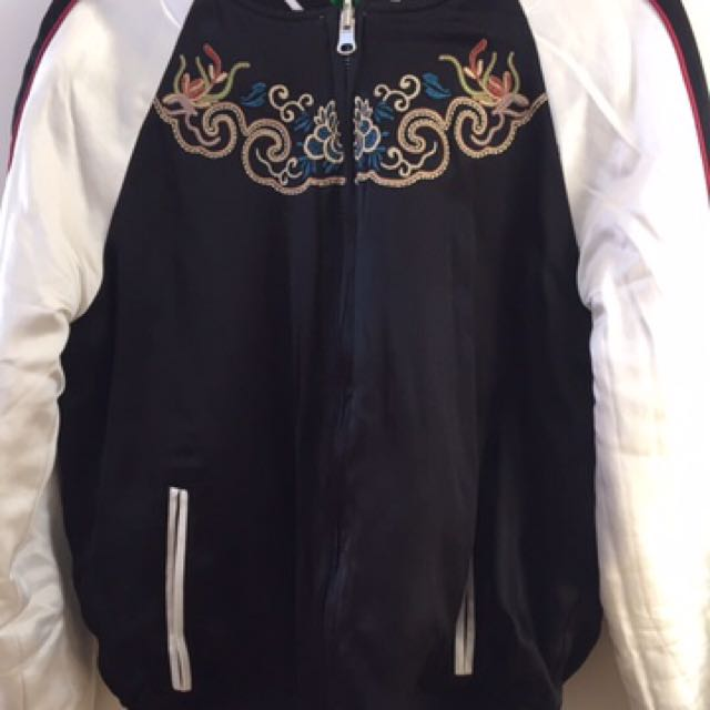 Authentic Topshop  2-in-1 Black Green Reversible Embroidered Bomber Jacket Size 10 S M RRP200+