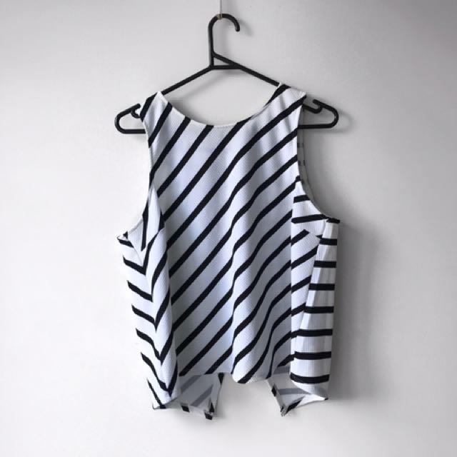 Black And White Striped Sportsgirl Shirt, Size L