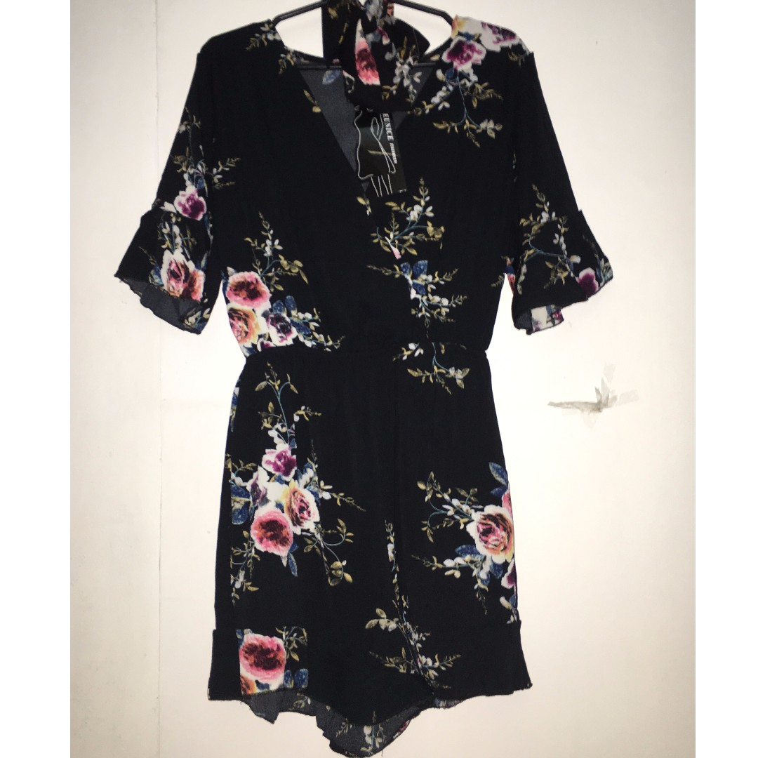 Black floral romper with ruffles