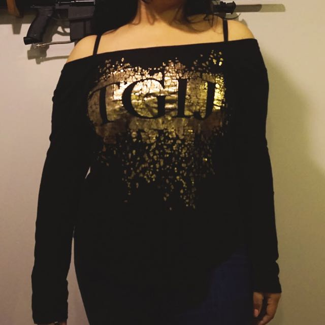 Black Juicy Couture Off-Shoulder Shirt
