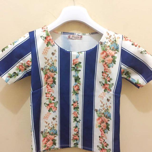 Blouse floral blue&white