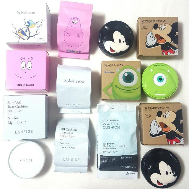 Bnib Korean Bb Cushion Foundation Refill And Puff Korea Makeup Sponge Liquid Base Powder Laneige Sulwhasoo The Face Shop 3ce