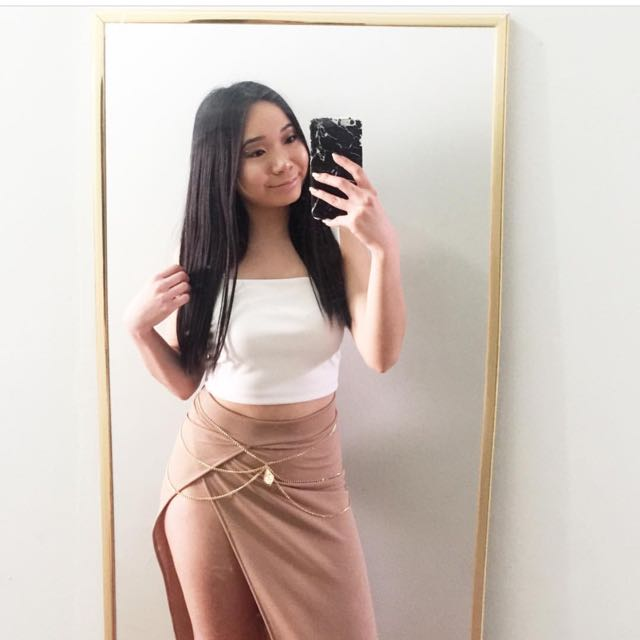 Brown Skirt With A High Slit