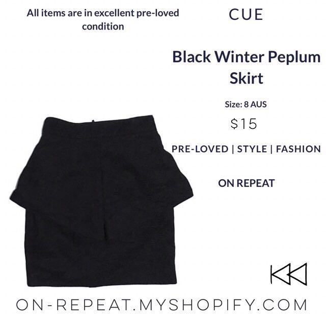 Cue Black Peplum Winter Skirt