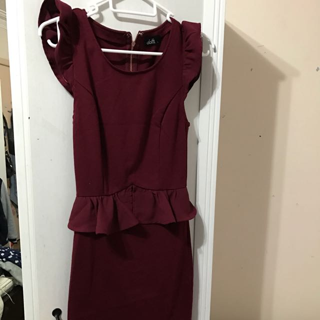 Dotti Maroon Peplum Dress