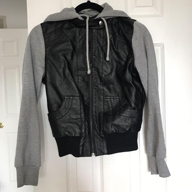 Forever 21 Leather/Grey Jacket