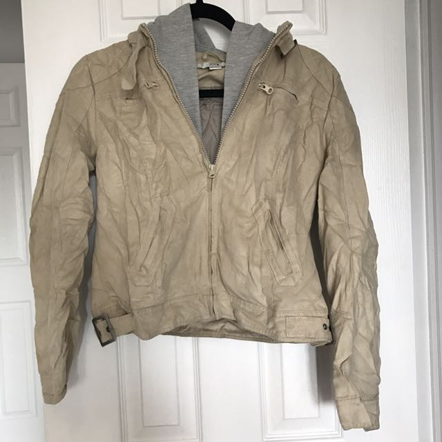 Forever 21 Tan/Grey Hooded Jacket